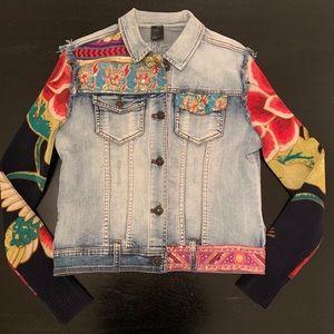 Desigual soft stretch embellished denim jacket L